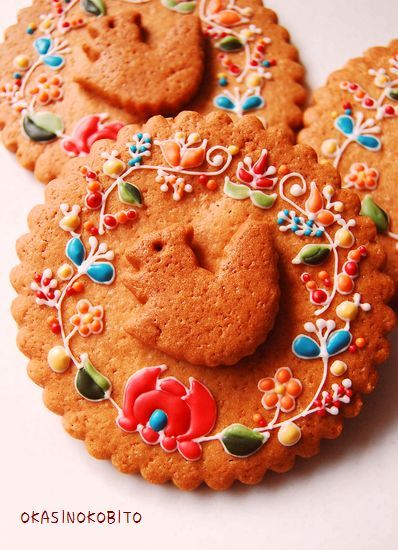 embroidered design cookies