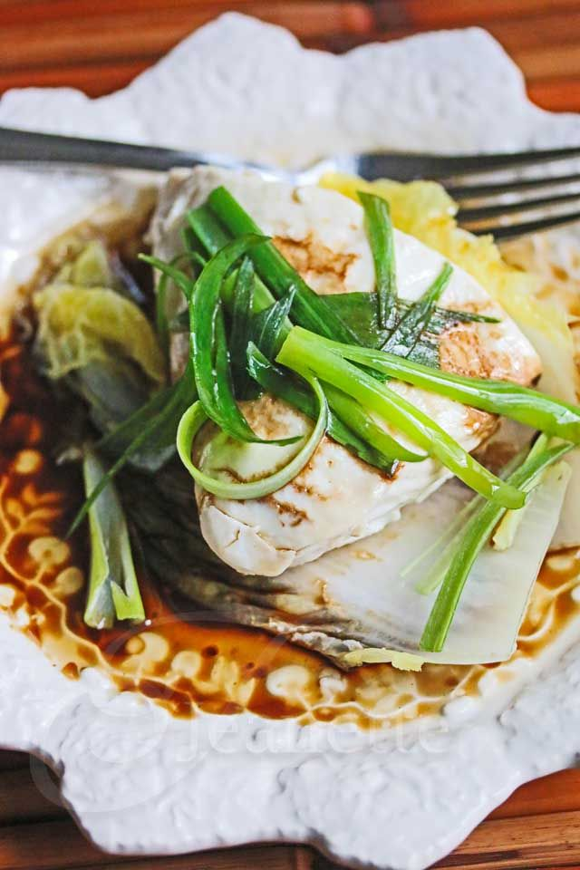 Chinese Steamed Fish with Soy Sesame Sauce  | Jeanette's Healthy Living