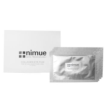 Collagen Eye Film. An easy to use soluble hydrogel collagen enriched eye mask film for intense deep hydration, plumping, cooling and tightening as the result of Marine and Botanical ingredients captured in the fabric that is released when the hydrogel film dissolves on the skin. 5 sachets. Nimue Skin Technology.