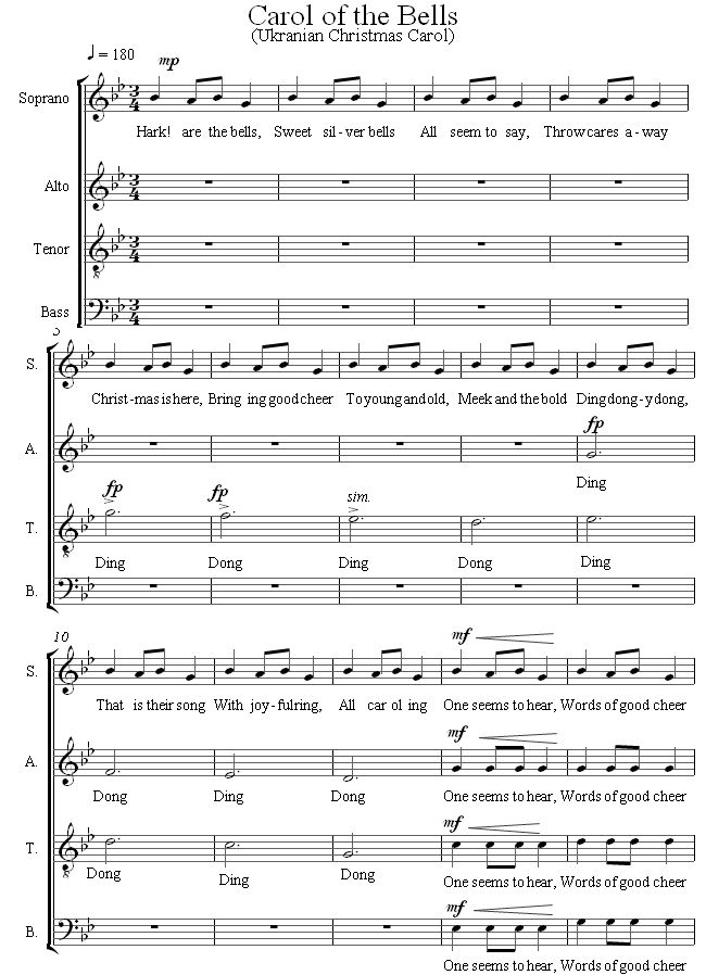 FREE SHEET MUSIC: Carol of the Bells sheet music for Choir