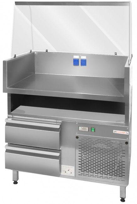 274 773 руб.Арт.: JMC-4  Охлаждаемый фаст-фуд модуль с рабочей поверхностью размерами 900x675, гнутым витринным стеклом, двумя охлаждаемыми выдвижными ящиками c диапазоном температур -2˚C до +10˚C и нейтральной нишей под рабочей поверхностью для хранения инвентаря и продуктов. Модуль спроектирован для приготовления и продажи хот-догов, вафель, блинов, сэндвичей