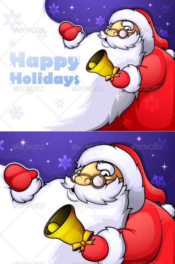 Kind and cheerful Santa Claus with Christmas bell and a huge beard on which to place the text.