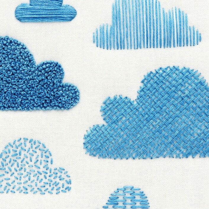 The cloud embroidery sampler is a great way to try out a number of needlework stitches to fill in shapes. Available as a PDF download, printed fabric pattern and complete embroidery kit ⛅