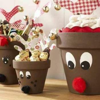 Blumentöpfe werden ganz einfach zu Rudolph und Aufbewahrung