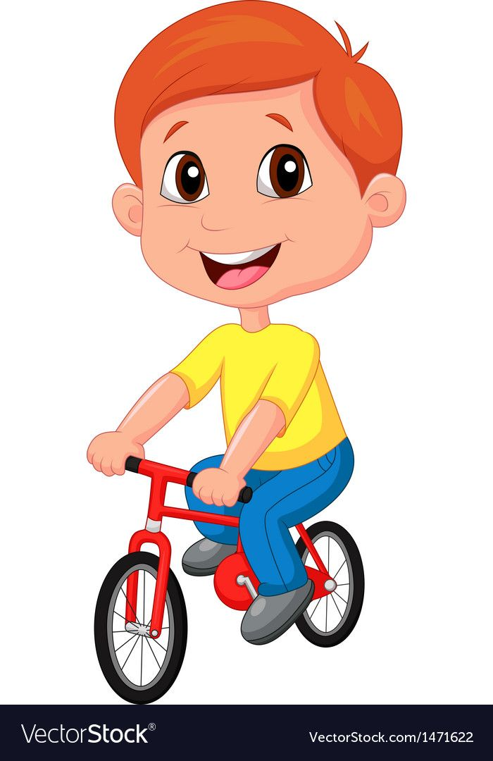 Boy Cartoon Riding Bicycle Vector Image On Bicycle Illustration
