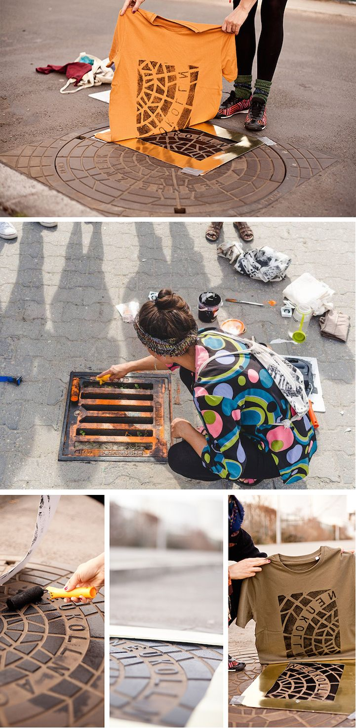 Sure you might not want to spray paint any old surface lying around, but we love the idea of forgoing stamps and stencils and using unexpected objects instead.
