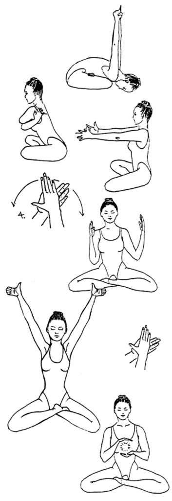 Heart of Gold yogaset      YOGA MUDRA:  In Lotus (or Easy Pose), bend over placing forehead on the ground, extended, and raise the arms st...
