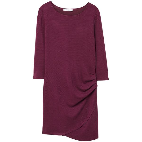 MANGO Ruched detail dress (3005 RSD) ❤ liked on Polyvore featuring dresses, maroon, round neck dress, fitted dress, shirring dress, ruched dress and shirred dress