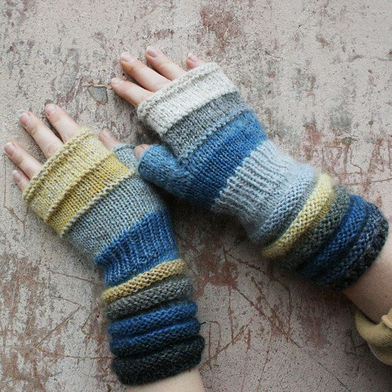 Knitting Patterns Striped Gloves : Seashore Striped Hand Knit Fingerless Gloves with upcycled yarn and kid mohai...