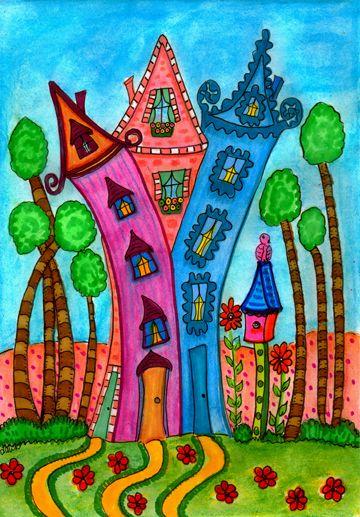 Three Little Houses - Dawn Collins...folk art?