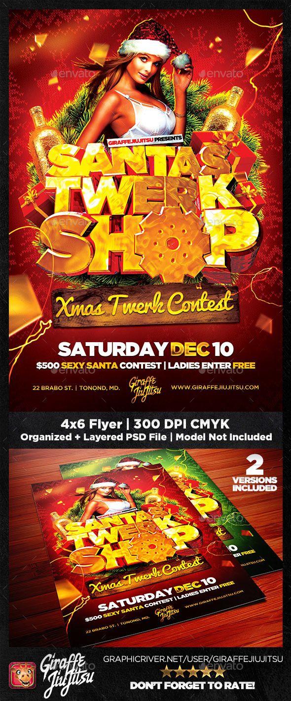 Santa's Twerk Shop Flyer Template — PSD beer