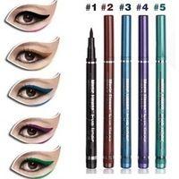 Flor Music multicolor lápiz delineador líquido a prueba de agua de 5 colores negro café verde azul púrpura 5 unids/lote
