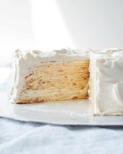 Lemon-Mascarpone Crepe Cake - the crepes and lemon curd can both be made ahead of time for this swoon-worthy holiday dessert