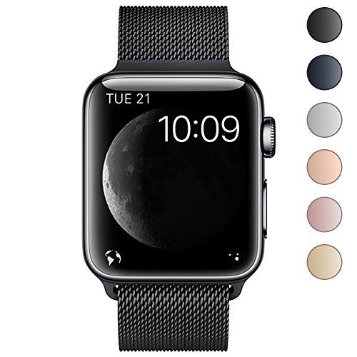 BRG Apple Watch Band Stainless Steel Mesh Milanese Loop with Adjustable Magnetic Closure Replacement iWatch Band for Apple Watch Series 3 Series 2 Series 1 Nike Sport Edition 42mm Black