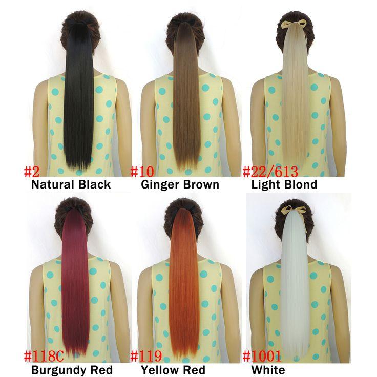"""22 """"Synthetisch Haar Lange Natuurlijke Rechte Clip In Paardenstaart Hair Extensions Haarstukje Nep Haar staartjes paardenstaarten haarstukken"""