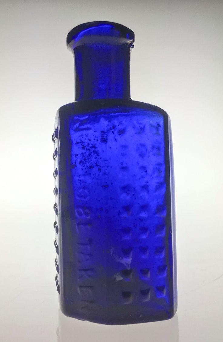 1 x blue bottle - small irregular hexagon Polka Dot warning Braille 'NOT TO BE TAKEN' Coffin Poison (Lewis & Towers circa 1910?)  item 0087