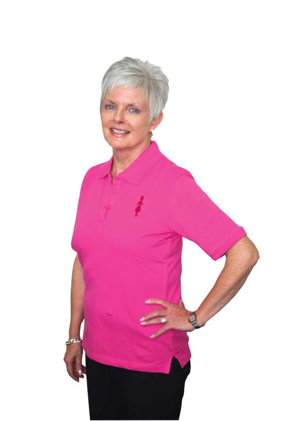 Our polo T-shirt is available in our signature pink colour and features our Pink Lady embroidered on the front.    The sleeves are slightly longer than regular T-shirts, sitting just above the elbow, making them a comfortable fit.    The sleeves are slightly longer than regular T-shirts, sitting just above the elbow, making them a comfortable fit.