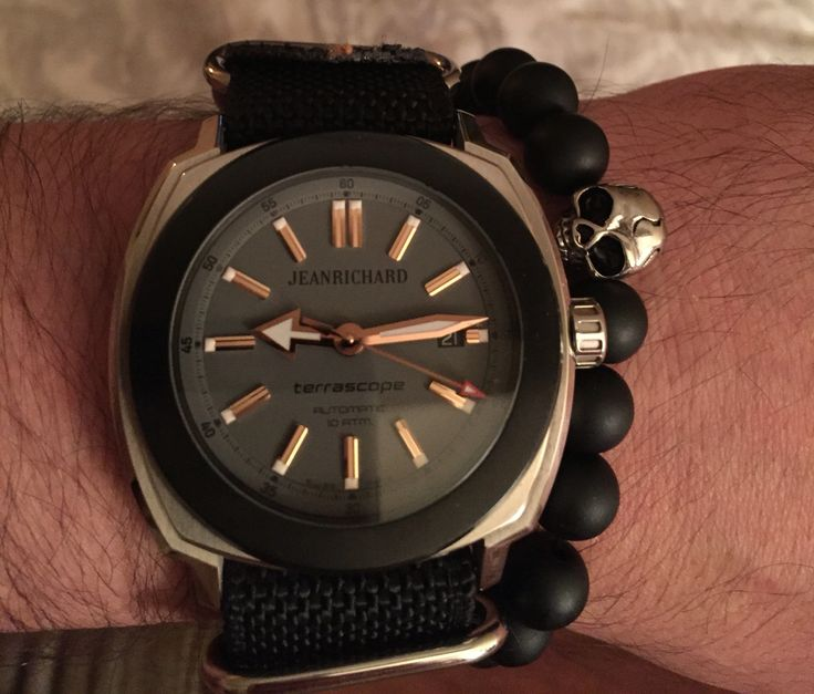 Jean Richard Terrascope with NATO watch strap and beaded skull bracelet