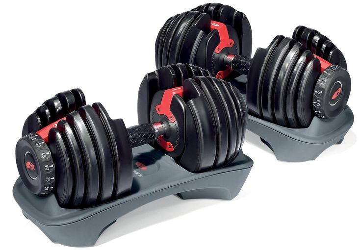 The Bowflex SelectTech Adjustable Dumbbells are awesome for a home gym setup.
