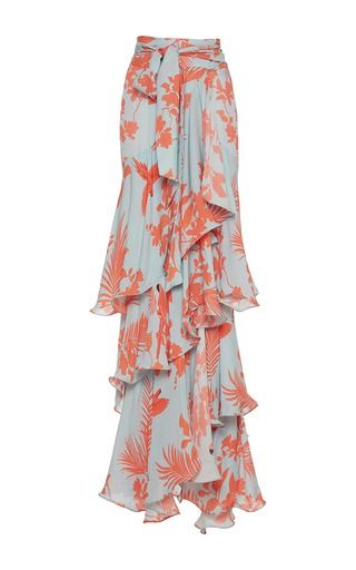 Here Comes the Sun! Johanna Ortiz Tiered Floral Maxi Skirt