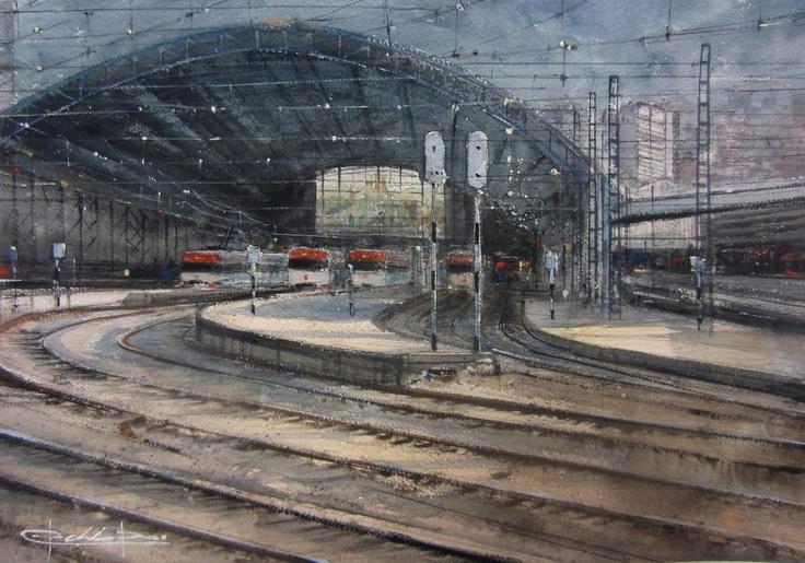 Estación Central de Abando, Bilbao , Spain , watercolour by Pablo Rubén López,Madrid, Spain.  ON HOLD / RESERVADO
