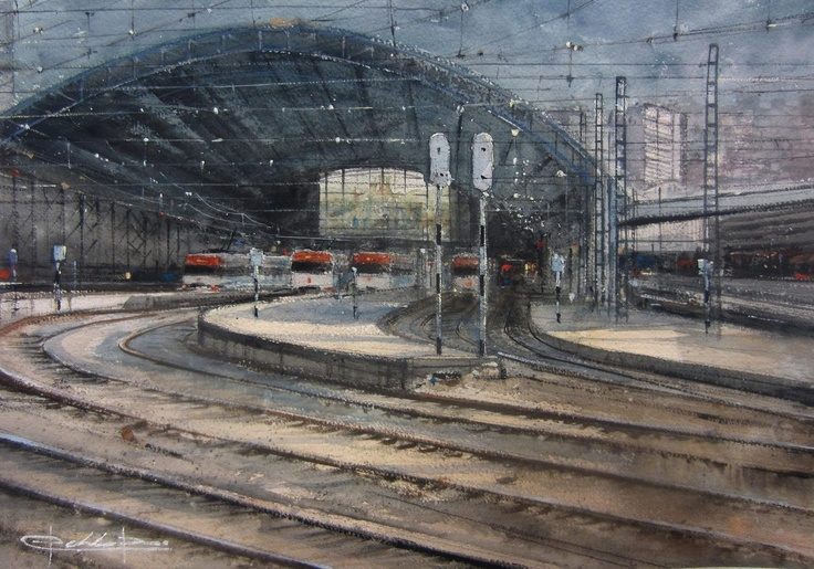 Estación Central de Abando, Bilbao , Spain , watercolour by Pablo Rubén López,Madrid, Spain.  ON HOLD / RESERVADO