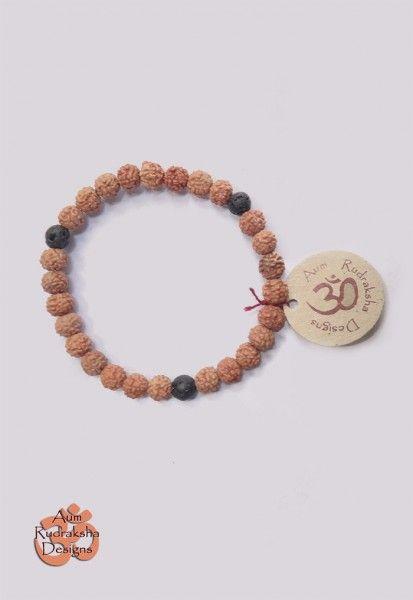 Bracelet W/ Lava stones #aum #rudraksha #beads #bracelet #jewellery #lava #bali