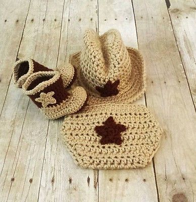 Crochet Baby Cowboy Hat And Booties Set Newborn Infant Knitted Beanie