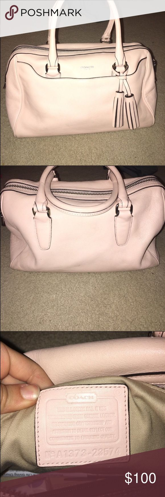 Light pink coach bag It's a beautiful coach purse only used for about a week still brand new. It does have a few spots on it hardly noticeable 💖😊 offers welcome 😌😍 Coach Bags
