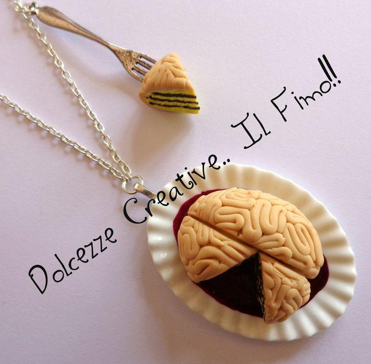 ☠ Collezione Halloween 2013 ☠ Collana cervello torta, by Dolcezze creative.. il fimo!! , 16,00 € su misshobby.com