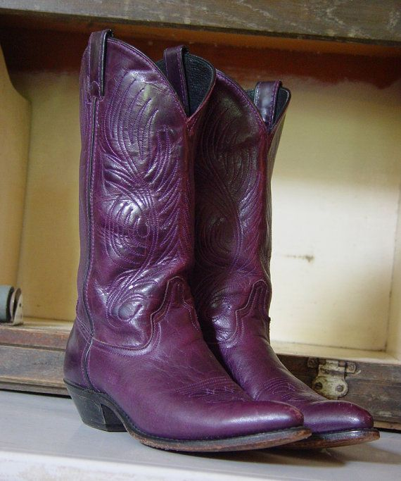 Vintage Purple Ladies Code West Cowboy Cowgirl Western Boots 7 M    - purple with black piping up the shafts  - elaborate tone on tone stitching  -