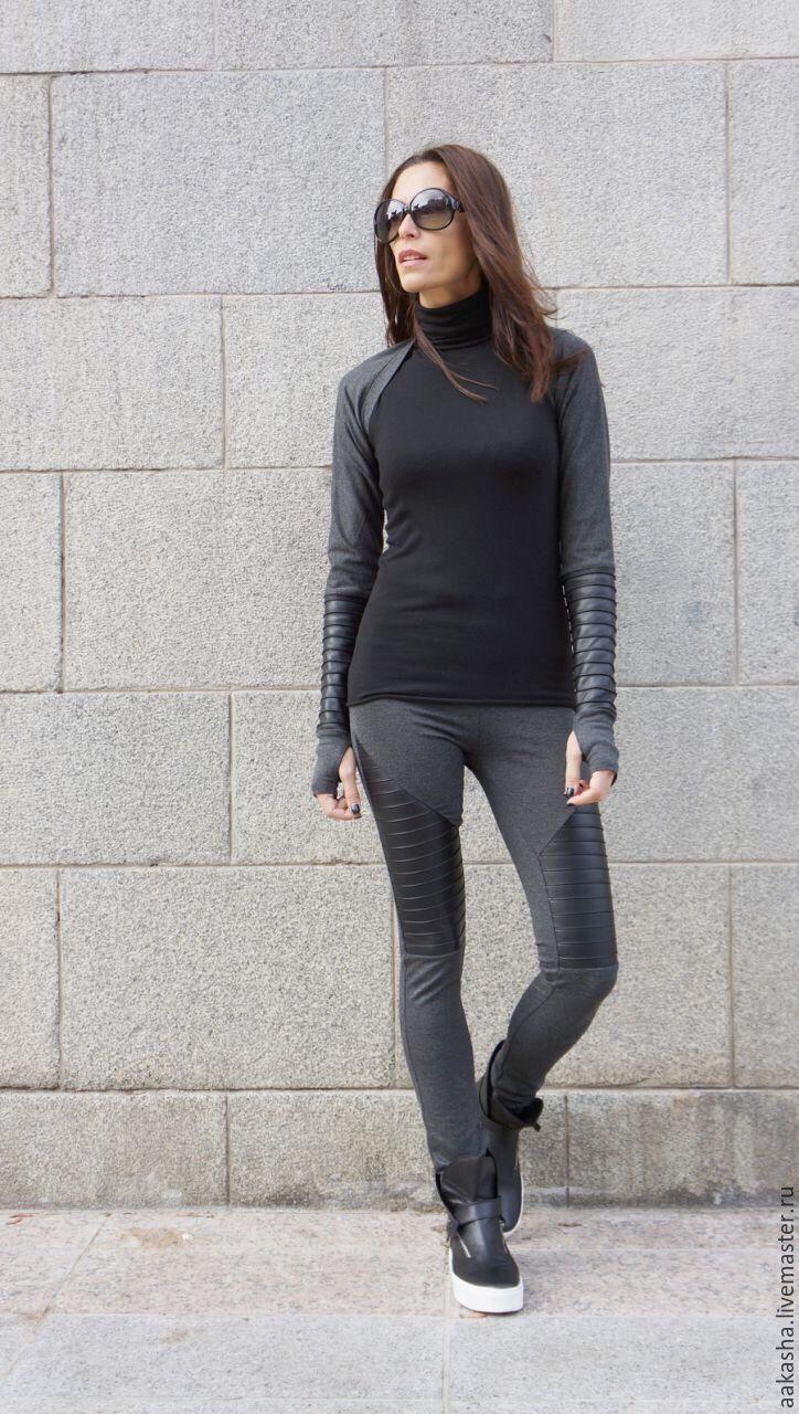 Купить Леггинсы Grey New - черный, леггинсы, леггинсы женские, кожаные леггинсы, брюки