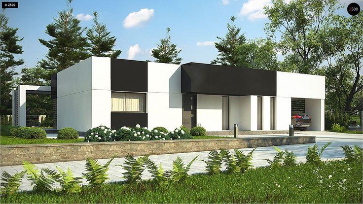 Общая площадь 103,2 м²  Проект дома Zx150 — типовой проект компактного одноэтажного стильного дома с плоской крышей и открытым гаражом для двух машин.