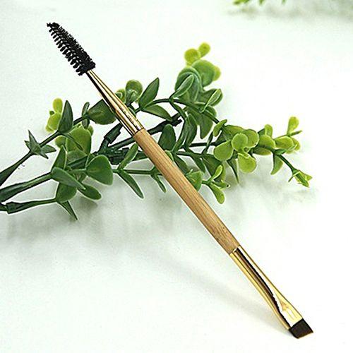 1 Шт. Косметическая Инструмент Двусторонний Бамбуковой Ручкой Кисть Для Бровей Ресниц Кисть