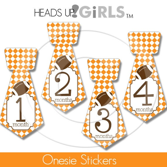 Tie Shape Onesie Stickers with Tennessee Volunteers Football by HeadsUpGirlsBaby, $8.00