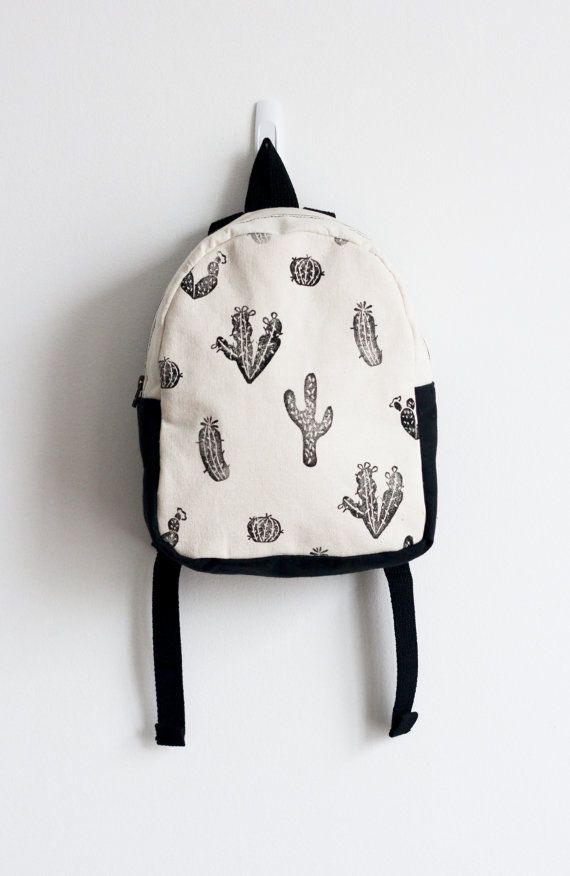 MADE TO ORDER, Customizable, Toddler backpack, Girl backpack, Boy backpack, Cactus print, Block printed, Hand stamped, Kid's backpack