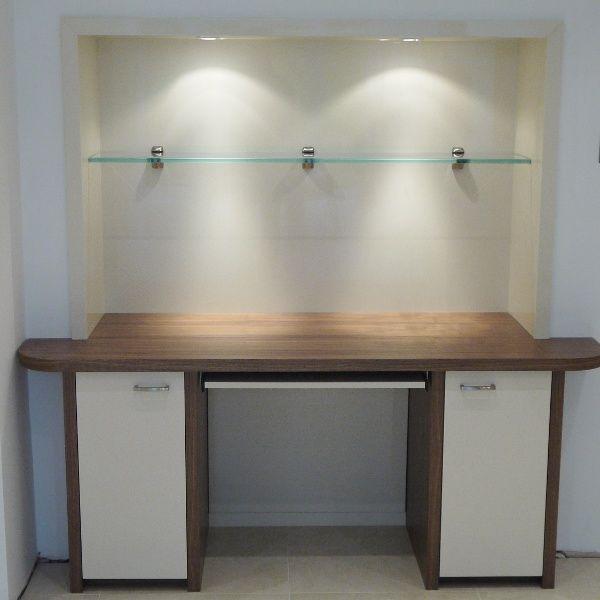 American black walnut, burnished paint finish desk
