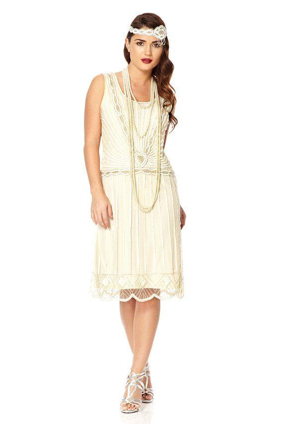 PETITE Length UK8 US4 AUS8 Charleston white Vintage inspired 1920s Flapper Great Gatsby Downton Abbey Bridesmaid Rehearsal Dinner Dress New