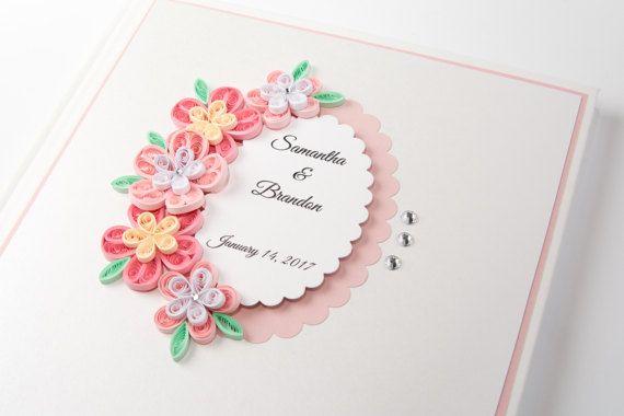 Beautiful Handmade Custom Wedding Guest Book Pink Quilling Flowers Personalized Wedding Keepsake Etsy by PaperParadisePL