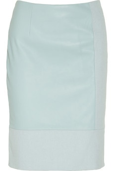 Tibi | Leather and cotton-canvas pencil skirt | NET-A-PORTER.COM