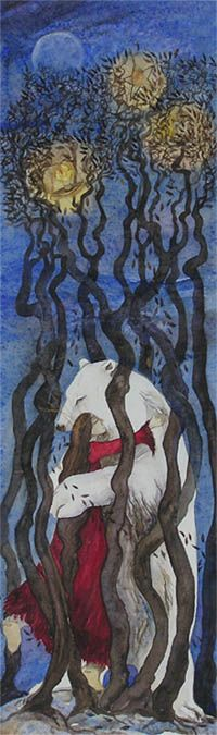 Woman dancing with a white bear in a cage of trees, by Jackie Morris. Watercolour