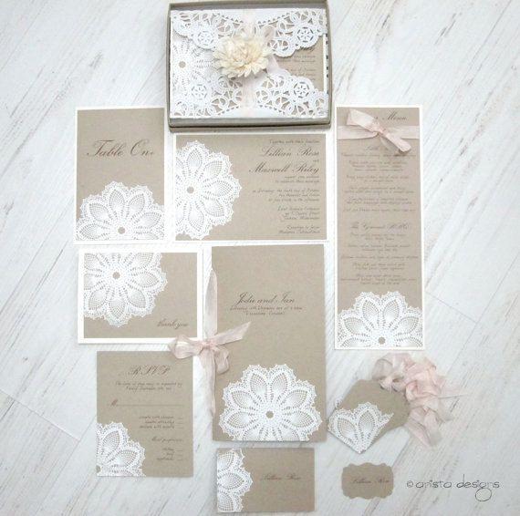SALE:  vintage wedding invitation - Lace doily and rustic flourish - Lillian Collection-  SAMPLE. $10,00, via Etsy.