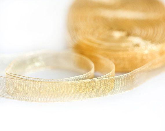 1321_Organza ribbon 10 mm, Gold ribbon, Ribbon organza, Sheer organza ribbon, Ribbon for jewelry, Organza golden band, Ribbon for bows_45 m.