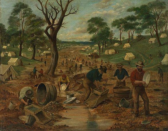 An Australian Gold Diggings, Edwin Stockqueler, 1829 - 1900 - Australian gold rushes - Wikipedia, the free encyclopedia