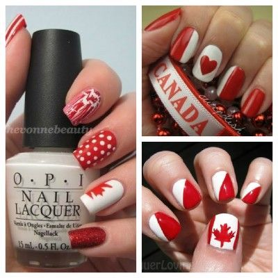 Happy Canada Day! Loving these Canada Day-themed nail art.