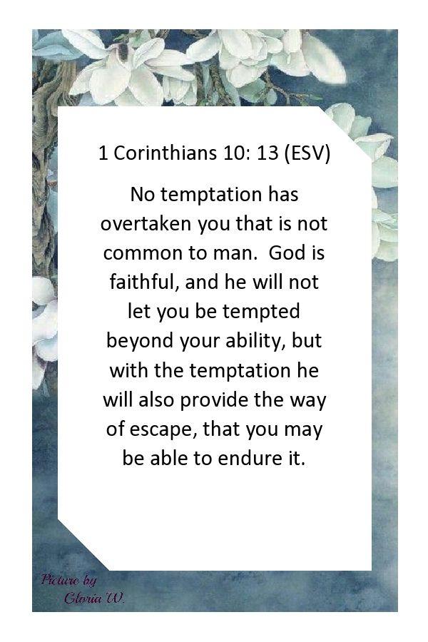 1 Corinthians 10: 13 (ESV) God is faithful     | New