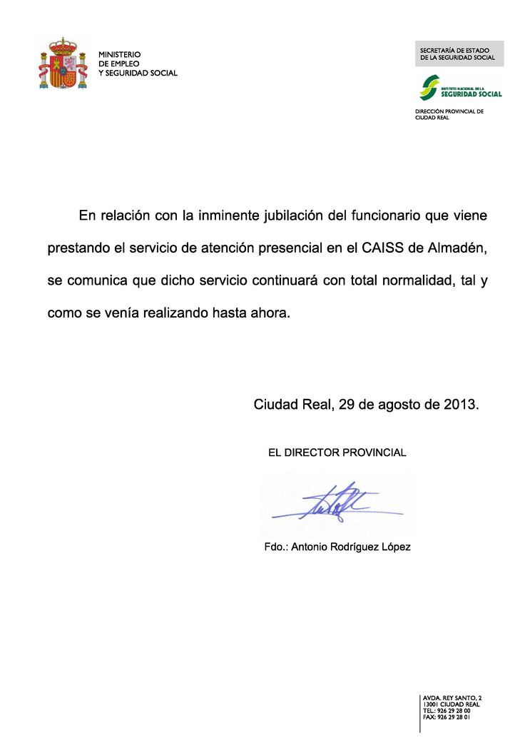 Nota sobre la continuidad de la oficina de CAISS en Almadén