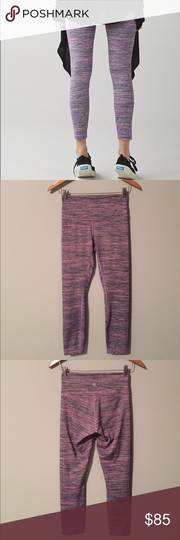 Lululemon High Times Pants Lululemon High Times Pant in Space Dye Camo tender Violet, size 6, excellent condition with no flaws(meaning no piling/rips/stains/seam damages/etc). Full on Luon fabric provides great coverage and is moisture wicking with four way stretch. Added Lycra fibre bends with you and stays in great shape. 7/8 length, hugged sensation, high rise. Bundle to save 10% off ☺ lululemon athletica Pants