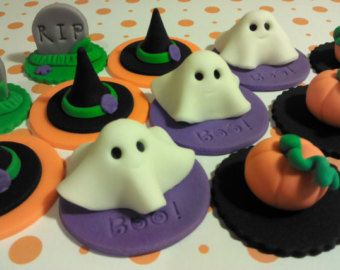 Halloween, Edible Fondant Cupcake Toppers (Ghosts, Pumpkins, Witch Hats, Tombstones)