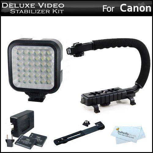 Deluxe LED Video Light + Video Stabilizer Kit For Canon EOS M, Rebel T4i,